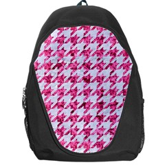 Houndstooth1 White Marble & Pink Marble Backpack Bag