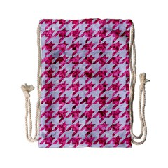 Houndstooth1 White Marble & Pink Marble Drawstring Bag (small)