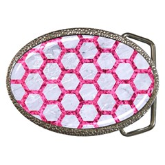 Hexagon2 White Marble & Pink Marble (r) Belt Buckles
