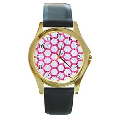 Hexagon2 White Marble & Pink Marble (r) Round Gold Metal Watch by trendistuff