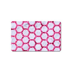 Hexagon2 White Marble & Pink Marble (r) Magnet (name Card) by trendistuff