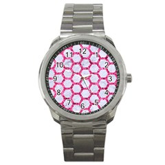 Hexagon2 White Marble & Pink Marble (r) Sport Metal Watch
