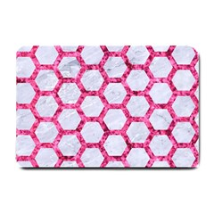 Hexagon2 White Marble & Pink Marble (r) Small Doormat
