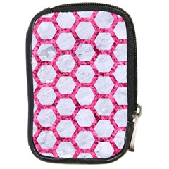 Hexagon2 White Marble & Pink Marble (r) Compact Camera Cases