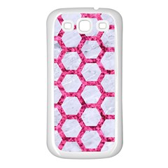 Hexagon2 White Marble & Pink Marble (r) Samsung Galaxy S3 Back Case (white)