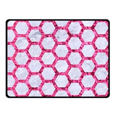 Hexagon2 White Marble & Pink Marble (r) Double Sided Fleece Blanket (small)