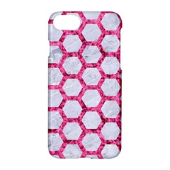 Hexagon2 White Marble & Pink Marble (r) Apple Iphone 7 Hardshell Case