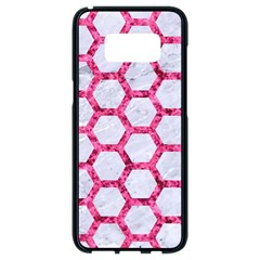 Hexagon2 White Marble & Pink Marble (r) Samsung Galaxy S8 Black Seamless Case