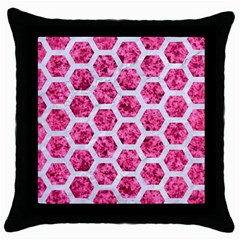 Hexagon2 White Marble & Pink Marble Throw Pillow Case (black) by trendistuff