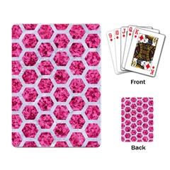 Hexagon2 White Marble & Pink Marble Playing Card
