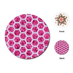 Hexagon2 White Marble & Pink Marble Playing Cards (round)  by trendistuff
