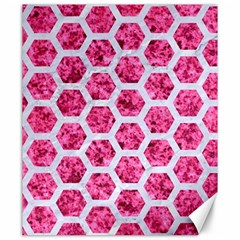 Hexagon2 White Marble & Pink Marble Canvas 20  X 24   by trendistuff