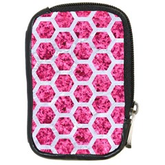 Hexagon2 White Marble & Pink Marble Compact Camera Cases by trendistuff