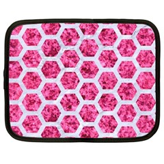 Hexagon2 White Marble & Pink Marble Netbook Case (xxl)