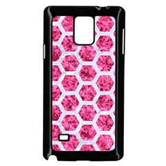 Hexagon2 White Marble & Pink Marble Samsung Galaxy Note 4 Case (black)