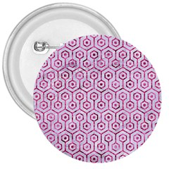 Hexagon1 White Marble & Pink Marble (r) 3  Buttons