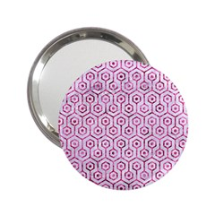 Hexagon1 White Marble & Pink Marble (r) 2 25  Handbag Mirrors by trendistuff