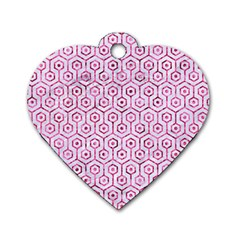 Hexagon1 White Marble & Pink Marble (r) Dog Tag Heart (one Side)