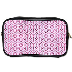 Hexagon1 White Marble & Pink Marble (r) Toiletries Bags 2 Side by trendistuff