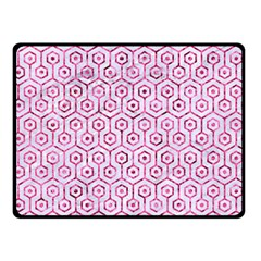 Hexagon1 White Marble & Pink Marble (r) Double Sided Fleece Blanket (small)