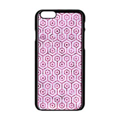 Hexagon1 White Marble & Pink Marble (r) Apple Iphone 6/6s Black Enamel Case
