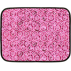Hexagon1 White Marble & Pink Marble Double Sided Fleece Blanket (mini)