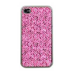 Hexagon1 White Marble & Pink Marble Apple Iphone 4 Case (clear) by trendistuff