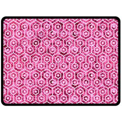 Hexagon1 White Marble & Pink Marble Double Sided Fleece Blanket (large)