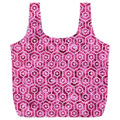 Hexagon1 White Marble & Pink Marble Full Print Recycle Bags (l)
