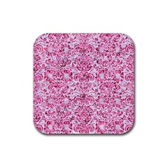 Damask2 White Marble & Pink Marble (r) Rubber Square Coaster (4 Pack)  by trendistuff