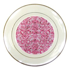 Damask2 White Marble & Pink Marble (r) Porcelain Plates by trendistuff