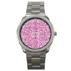 Damask2 White Marble & Pink Marble (r) Sport Metal Watch