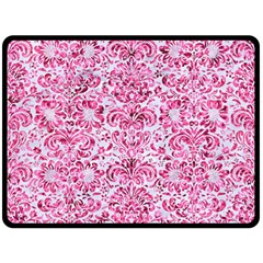 Damask2 White Marble & Pink Marble (r) Double Sided Fleece Blanket (large)