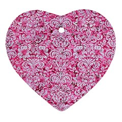 Damask2 White Marble & Pink Marble Ornament (heart) by trendistuff