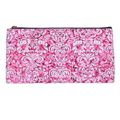Damask2 White Marble & Pink Marble Pencil Cases by trendistuff
