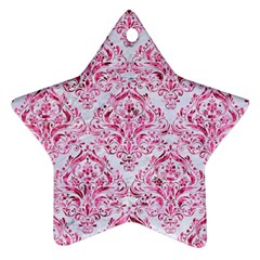 Damask1 White Marble & Pink Marble (r) Ornament (star)