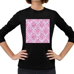Damask1 White Marble & Pink Marble (r) Women s Long Sleeve Dark T Shirts
