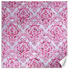 Damask1 White Marble & Pink Marble (r) Canvas 12  X 12   by trendistuff