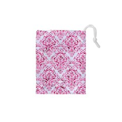 Damask1 White Marble & Pink Marble (r) Drawstring Pouches (xs)