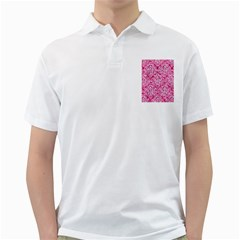 Damask1 White Marble & Pink Marble Golf Shirts