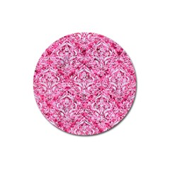 Damask1 White Marble & Pink Marble Magnet 3  (round)