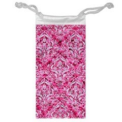 Damask1 White Marble & Pink Marble Jewelry Bags