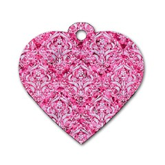 Damask1 White Marble & Pink Marble Dog Tag Heart (one Side)