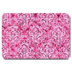 Damask1 White Marble & Pink Marble Large Doormat