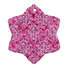 Damask1 White Marble & Pink Marble Ornament (snowflake) by trendistuff