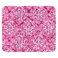 Damask1 White Marble & Pink Marble Double Sided Flano Blanket (small)