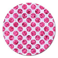 Circles2 White Marble & Pink Marble (r) Magnet 5  (round)