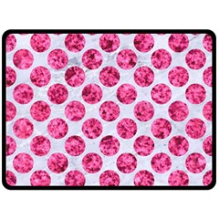 Circles2 White Marble & Pink Marble (r) Double Sided Fleece Blanket (large)