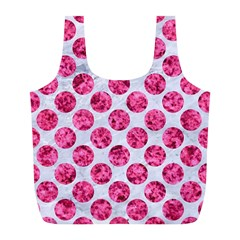 Circles2 White Marble & Pink Marble (r) Full Print Recycle Bags (l)