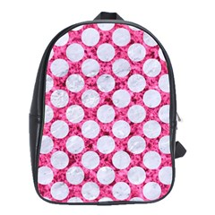 Circles2 White Marble & Pink Marble School Bag (large)